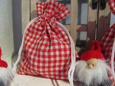 24 Säckchen Beutel Adventskalender Karo rot beige Geschenk Schmuck Landhaus Neu