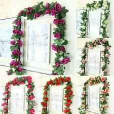 Artificial Rose Garland Silk Flower Vine Ivy Wedding Garden String Decor Outdoor
