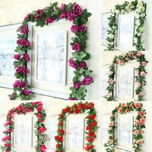 Artificial Rose Garland Silk Flower Vine Ivy Wedding Garden String Decor Outdoor