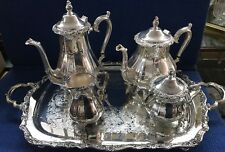 International Silver Co Patterned Tea Pot Set Waiter Tray