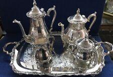 International Silver Co Patterned Tea Pot Set Waiter Tray