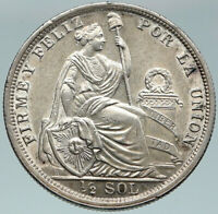 1917 PERU South America Original OLD ANTIQUE Silver Peruvian 1/2 Sol Coin i87472