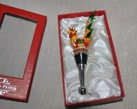 NEW FITZ & FLOYD Wine Stopper GLASS MENAGERIE ROOSTER Ltd Gift BOX