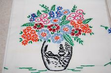 Vintage Pair of Pillowcases Embroidered & Scalloped Flowers Floral Colorful !