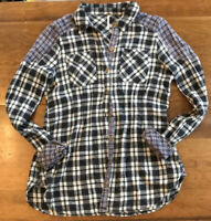 Free People Womens Shirt Blue Plaid Patchwork Top Soft Flannel Pin tuck XS