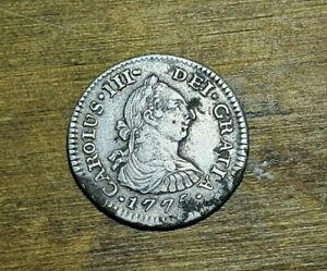 Mexican Silver COIN 1/2 Real Carolus III 1775 Sharp and Hard Strike XF UNCLEANED