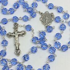 Rosary 7mm Blue Austrian Crystal Beads