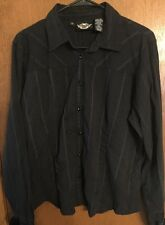HARLEY DAVIDSON WOMENS XL BLACK BUTTON FRONT CASUAL L/S SHIRT EMBROIDERED EUC!