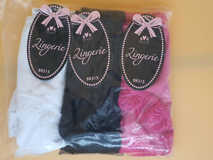Pack of 3 Ladies satin feel Midi Briefs with Lace, Sizes 12, 14, 16, 18,