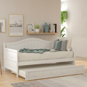 Twin Wooden Daybed Trundle Bed Sofa Bed Bedroom Living Room Modern White