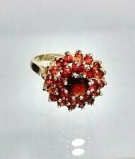 Vintage Statement Genuine 9ct gold Garnet Cluster ring (not filled or plated) M