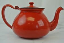 Vintage Enamel Tea Kettle/Pot With Hinged Lid, Red & Black Accents