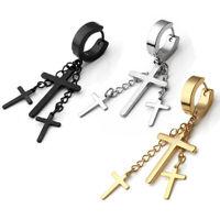 1/2pairs Stainless Steel Slim Cross Drop Dangle Huggie Hinged Hoop Earrings US