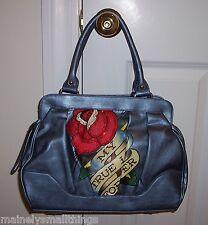 NWT Ed Hardy HATTIE Demi Satchel Bag MY TRUE LOVE FOREVER Blue 1VP174BE