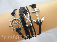 Retro Silver Infinity Anchor Helm Rudder Charms Leather Wax Rope Bracelet Black