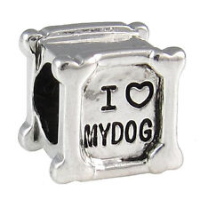 Lot 5pcs I Love My Dog Silver European Spacer Charm Beads For Bracelet LEB656