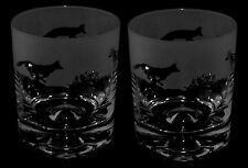 *FOX GIFT* Boxed PAIR WHISKY TUMBLER GLASS with FOX FRIEZE design