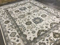 9x12 MUTED HAND-KNOTTED WOOL RUG handmade oriental hand-woven neutral ivory rugs