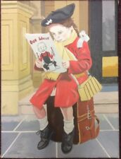 LITTLE GIRL READING A COMIC OIL ON CANVAS BY J.M.WALLACE RSA ARTIST