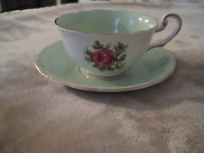 Victoria C & E Cup and Saucer, Bone China, Pink Rose, Green
