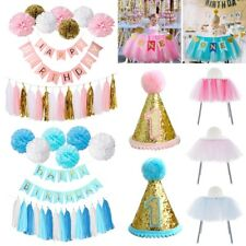 Happy Birthday Banner Set Paper Tassel Pompom Ball 1st Party Table Hanging Decor