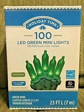 Holiday Time 100 Green LED Mini Lights Green Wire Indoor/Outdoor NIB
