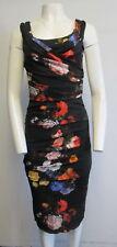 DOLCE & GABBANA  black multi- color floral gathered V- neck sheath dress sz 38/2