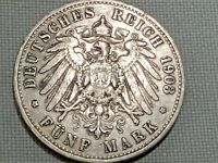 German Reich Prussia Silver 5 Mark 1903 Kaiser Wilhelm II Crowned Imperial Eagle