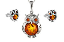925 Sterling Silver Baltic Amber Owl Pendant Stud Earrings Set Jewellery Jewelry