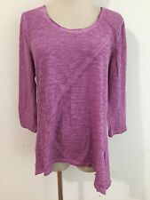DKNY JEANS Scoop Neck Trapeze Top T-Shirt Tee Semi-Sheer Lilac Melange Size M