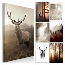 Canvas Deco Picture Stag Forest Sepia Landscape Wall Pictures XL Art Print Natur...