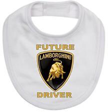 BABY BIB white cotton printed with FUTURE LAMBORGHINI DRIVER on baby bib