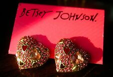 NWT AUTHENTIC Betsey Johnson Heart Stud Earrings PINK PAVE VALENTINE Crystals