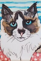 Ragdoll Stare ACEO PRINT Cat Mini Art Card 2.5 X 3.5 Signed by KSAMS Collectible