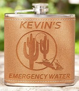 "Fun Gift for Birthday ""Emergency Water"", Leather Flask for Friends, Colleagues"