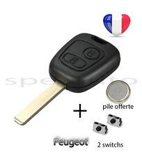 plip coque clé Peugeot 107 207 307 106 206 306 406 + pile + 2 switchs