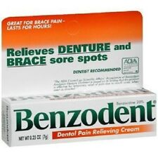 Pack of 3 0.25oz Benzodent Tablet Dental Pain Relieving Cream 20% Benzocaine