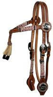 Showman Leather Rawhide Wrapped Bridle & Reins Set w/ Praying Cowboy Conchos NEW