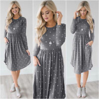 Women Long Sleeve Boho Casual Maxi Formal Party wedding Beach Dress Sundress