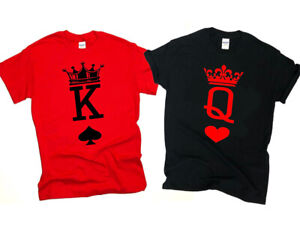 NEW! Couples Matching King and Queen Playing Card T-shirts Valentines Day S-3XL