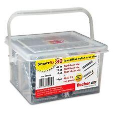 80 Tasselli con Vite con Gancio per Muro, Fischer Kit Smartfix Box