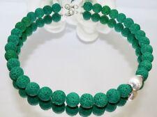 Halskette Kette Perle Lava grün dunkelgrün smaragd Eyecatcher versilbert 193b