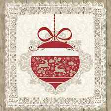 Christmas 20 Paper Lunch Napkins SCANDINAVIAN BAUBLE Nordic Style Winter Snow