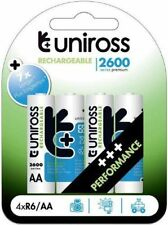 4 Pack Uniross Performance AA 2600 NiMH Highest Rechargeable Batteries