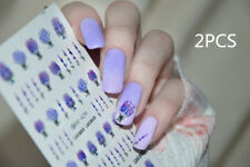 2Pcs Water Decals Spring Fresh Flower Lavender Nail Art Transfer Stickers Tips