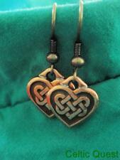 VIKING CELTIC DESIGN*SMALL HEART KNOTWORK CHARM BRONZE LOOK EARRINGS*nickel free