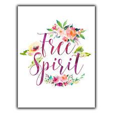 FREE SPIRIT METAL WALL PLAQUE Sign shabby vintage print home inspirational decor