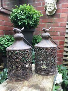 A Pair of French Metal Rustic Bird Finial Lantern Candleholder Tea Light Votive