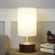 BetterHomes & Garden Wood Grain Touch Table Lamp Walnut And Brushed Brass Finish