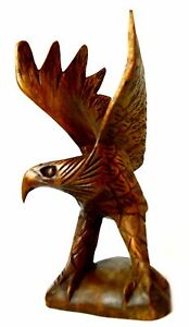 """8"""" Tall Hand Carved Mahogany Wood American Eagle Sculpture Style"""